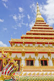Pagoda dorato al tempiale, Khonkaen Tailandia Fotografia Stock