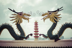Pagoda and dragon sculpture of the Taoist Temple in Cebu, Philip Stock Photos