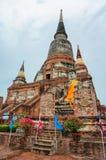 Pagoda e statua antiche di Buddha a Ayutthaya, Tailandia Fotografie Stock Libere da Diritti