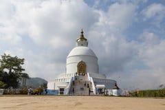 Pagoda em Pokhara, Nepal da paz do mundo fotografia de stock