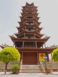 Pagoda en bois chinoise antique de tour, province de Zhangye, Gansu, Chine Image libre de droits