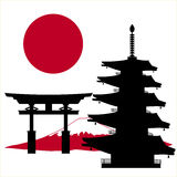 Pagoda et drapeau japonais de multi-magasin illustration stock