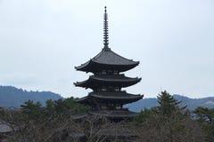 Pagoda famosa cinco en el templo de Kofukuji en Nara Foto de archivo libre de regalías
