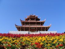 Pagoda and flowers Stock Image