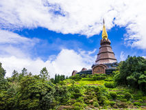 Pagoda and garden on the top of Doi Inthanon, Thailand. Pagoda and royal garden on the top of Doi Inthanon, Thailand Royalty Free Stock Photos