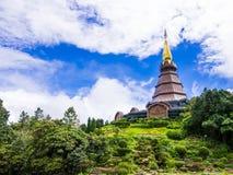 Pagoda and garden on the top of Doi Inthanon, Thailand Royalty Free Stock Photos