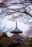 Pagoda giapponese con Sakura ad Yoshino Mountain Fotografie Stock Libere da Diritti
