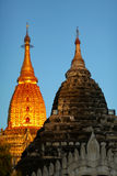 Pagoda with golden gilded stupa in Bagan Royalty Free Stock Photo