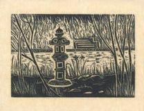 Pagoda - gravure sur bois originale Yello Photos libres de droits