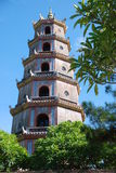 Pagoda Hue - Vietnam. A pagoda in the ancient vietnamese city of Hue, situated on the purfume river Royalty Free Stock Image