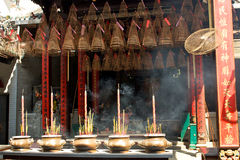 Pagoda with incense sticks. Thien Hau Pagoda, Ho Chi Minh, Vietnam Royalty Free Stock Photography