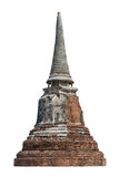 Pagoda with isolated background. Archeology of buddhist on white background, Ayutthaya, Thailand stock image