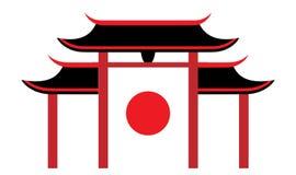 Pagoda japonesa de los símbolos Icono del recorrido Ilustraci?n del vector stock de ilustración