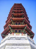 Pagoda jest wielopoziomowym wierza z wieloskładnikowymi okapami Obrazy Stock