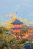 Pagoda at at Kiyomizu-dera(an independent Buddhist temple in eastern Kyoto.) in autumn royalty free stock image