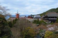 Pagoda at Kiyomizu-dera temple. Pagoda with clear blue sky at Kiyomizu-Dera Stock Photo