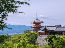 Pagoda of Kiyomizu-dera Temple. A 3-storey pagoda Japanese Shrine, part of Kiyomizu-dera Temple complex. Kyoto, Japan Royalty Free Stock Image