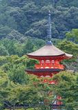 Pagoda, Kyoto. One of Kyoto's many temples, its pagoda emerging from the surrounding landscape Royalty Free Stock Images