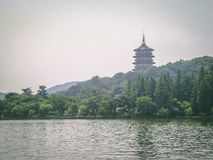 Pagoda on the Lake in china royalty free stock photos