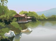 Pagoda on the lake shore, vector. Nature park scenery in spring, pagoda on the lake shore, photo-realistic vector illustration Royalty Free Stock Photo