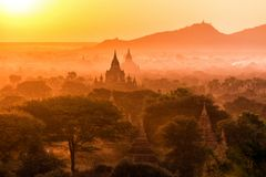 Pagoda landscape at dusk in Bagan Stock Image