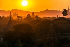 Pagoda landscape at dusk in Bagan Royalty Free Stock Images
