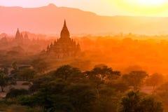 Pagoda landscape at dusk in Bagan Royalty Free Stock Image