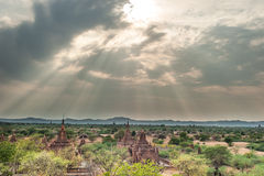 Pagoda landscape in the plain of Bagan Royalty Free Stock Photo