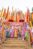 The pagoda is made of sand. Songkran Festival. One of the traditions of northern Thailand. The Hang Tung and colorful embroidery. The pagoda is made of sand royalty free stock photo