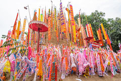 The pagoda is made of sand. Songkran Festival. One of the traditions of northern Thailand. The Hang Tung and colorful embroidery. The pagoda is made of sand Royalty Free Stock Image