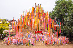 The pagoda is made of sand. Songkran Festival. One of the traditions of northern Thailand. The Hang Tung and colorful embroidery. The pagoda is made of sand royalty free stock photos