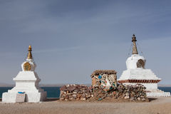 Pagoda and Marnyi Stone side the Namtso Lake Stock Photography