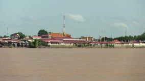 Pagoda, mekong,  cambodia, southeast asia stock video