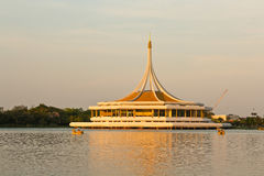 Pagoda. In the middle of the lake in the evening Royalty Free Stock Image