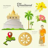 Pagoda and monks with flower collections of Thailand Royalty Free Stock Photography