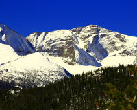 Pagoda Mountain in Rocky Mountain National Park. Snow capped Pagoda Mountain in late spring after big snowstorm Royalty Free Stock Photos