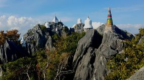 Pagoda in the mountains. Temple in Lampang city, unseenthailand Royalty Free Stock Photography