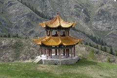Pagoda in mountians Royalty Free Stock Image