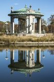 Pagoda musical bandstand reflected on Pagoda Lake, Forest Park royalty free stock photo