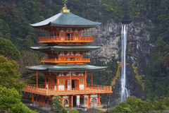Pagoda and Nachi Falls in the Wakayama Prefecture, Japan Royalty Free Stock Images