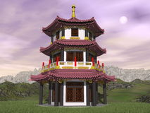 Pagoda in nature - 3D render Stock Photo