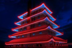Pagoda at Night. Sitting atop Mt. Penn with a commanding view of the city of Reading, Pennsylvania, the Pagoda is long recognized symbol of the city royalty free stock photography