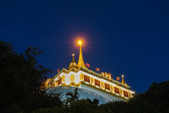 Pagoda at night in Bangkok Thailand, Phu Khao Thong Royalty Free Stock Photos
