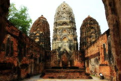 Pagoda. Old three pagoda on sky background in Thailand Royalty Free Stock Photos