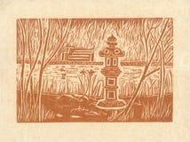 Pagoda - Oryginalny Woodcut Sepiowy Zdjęcia Royalty Free
