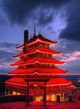 Pagoda Overlooking City of Reading, PA at Night. Sitting atop Mt. Penn with a commanding view of the city of Reading, Pennsylvania, the Pagoda is long recognized royalty free stock photo