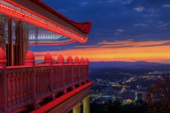 Pagoda Overlooking City of Reading, Pennsylvania. Sitting atop Mt. Penn with a commanding view of the city of Reading, Pennsylvania, the Pagoda is long stock photo