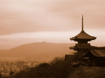 Pagoda Overlooking Kyoto Japan. Located on the hill of eastern Kyoto, Kiyomizu-dera (pure water temple) temple is one of the most popular temples in Kyoto and Stock Photos