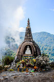 Pagoda on peak of Mountain Stock Image