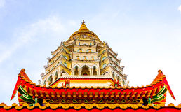 Pagoda in Penang, Malaysia. Kek Lok Si Pagoda in Penang, Malaysia. A worm's eye-view. The peak reaching for the sky Royalty Free Stock Image